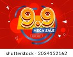 9.9 shopping day sale poster or ...   Shutterstock .eps vector #2034152162