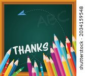 vector of thank you text  in... | Shutterstock .eps vector #2034159548