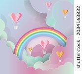 vector of heart hot air... | Shutterstock .eps vector #2034163832