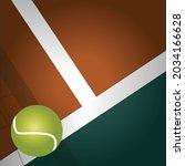 vector of tennis ball on brown... | Shutterstock .eps vector #2034166628