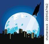 vector of silhouetted superhero ... | Shutterstock .eps vector #2034167462