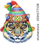 tiger in chullo hat. watercolor ...   Shutterstock . vector #2034177158