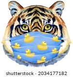 tiger in blue protective mask....   Shutterstock . vector #2034177182