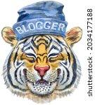 colorful orange smiling tiger...   Shutterstock . vector #2034177188
