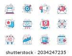 marketing concept flat line... | Shutterstock .eps vector #2034247235