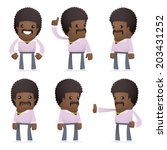 set of disco man character in different interactive  poses