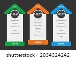vector pricing table in flat...