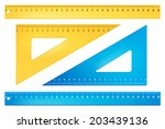 blue and yellow rulers in ...