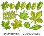 vector set of green leaves  lot ... | Shutterstock .eps vector #2034399668