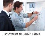 business people talking on... | Shutterstock . vector #203441836