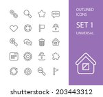 outline icons thin flat design  ... | Shutterstock .eps vector #203443312
