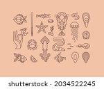 set of creative modern art deco ...   Shutterstock .eps vector #2034522245