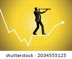 a businessman using telescope...   Shutterstock .eps vector #2034555125