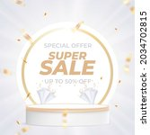 super sale template with podium ...   Shutterstock .eps vector #2034702815