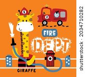 giraffe the fire rescue funny...   Shutterstock .eps vector #2034710282