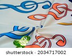 Cotton fabric with treble clef...