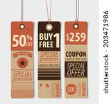 price tag  sale coupon  voucher.... | Shutterstock .eps vector #203471986