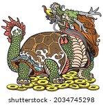 dragon turtle tortoise sitting... | Shutterstock .eps vector #2034745298