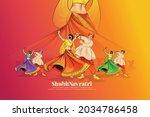 illustration of goddess durga... | Shutterstock .eps vector #2034786458