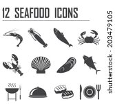 12 seafood icons | Shutterstock .eps vector #203479105