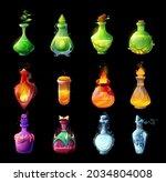 cartoon potion bottles  magic...