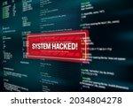 system hacked  warning alert... | Shutterstock .eps vector #2034804278