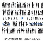 silhouettes of business people... | Shutterstock .eps vector #203483728