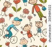 kid's outdoor recreation... | Shutterstock .eps vector #203484322