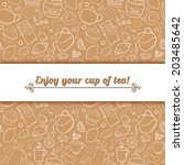 tea and sweets vector... | Shutterstock .eps vector #203485642
