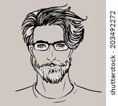 hipster. vector of a man face...   Shutterstock .eps vector #203492272