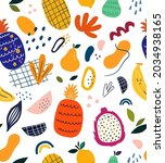 seamless pattern with exotic... | Shutterstock .eps vector #2034938165