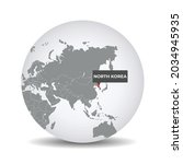world globe map with the... | Shutterstock .eps vector #2034945935