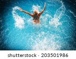 cute blonde woman at the... | Shutterstock . vector #203501986