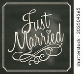 just married lettering sign on... | Shutterstock .eps vector #203504365