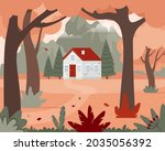 autumn landscape with a house...   Shutterstock .eps vector #2035056392