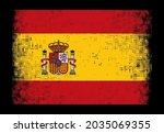 grunge distressed flag of spain.   Shutterstock .eps vector #2035069355