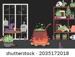 interior of the house of evil...   Shutterstock .eps vector #2035172018