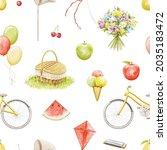 Seamless Pattern With Bright...