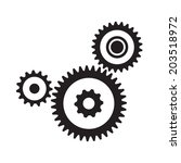 set of three gears  isolated on ... | Shutterstock .eps vector #203518972