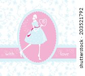 wedding card with girl and heart | Shutterstock .eps vector #203521792