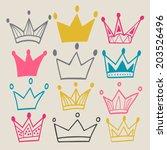 set of cute cartoon crowns.... | Shutterstock .eps vector #203526496
