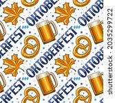 oktoberfest seamless pattern ... | Shutterstock . vector #2035299722