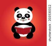 reading panda. vector...   Shutterstock .eps vector #203530312