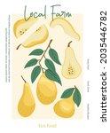 veggie pear eco fruits poster...   Shutterstock .eps vector #2035446782
