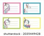 School Label With Unicorn...