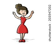 cartoon woman with raised arms | Shutterstock .eps vector #203547202