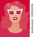 raster pink poster woman | Shutterstock . vector #203560456