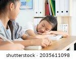 Asian Girl Student Sleeping On...