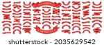 red web ribbons set  vector... | Shutterstock .eps vector #2035629542