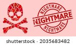 grunge nightmare stamp  and red ... | Shutterstock .eps vector #2035683482